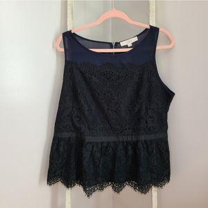 LOFT♡ Lace sleeveless peplum Exposed zipper top